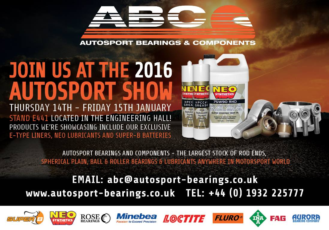 We're at Autosport International Show ‪#‎ASI16‬! Come and see us on Stand E441 located in the ENGINEERING HALL!