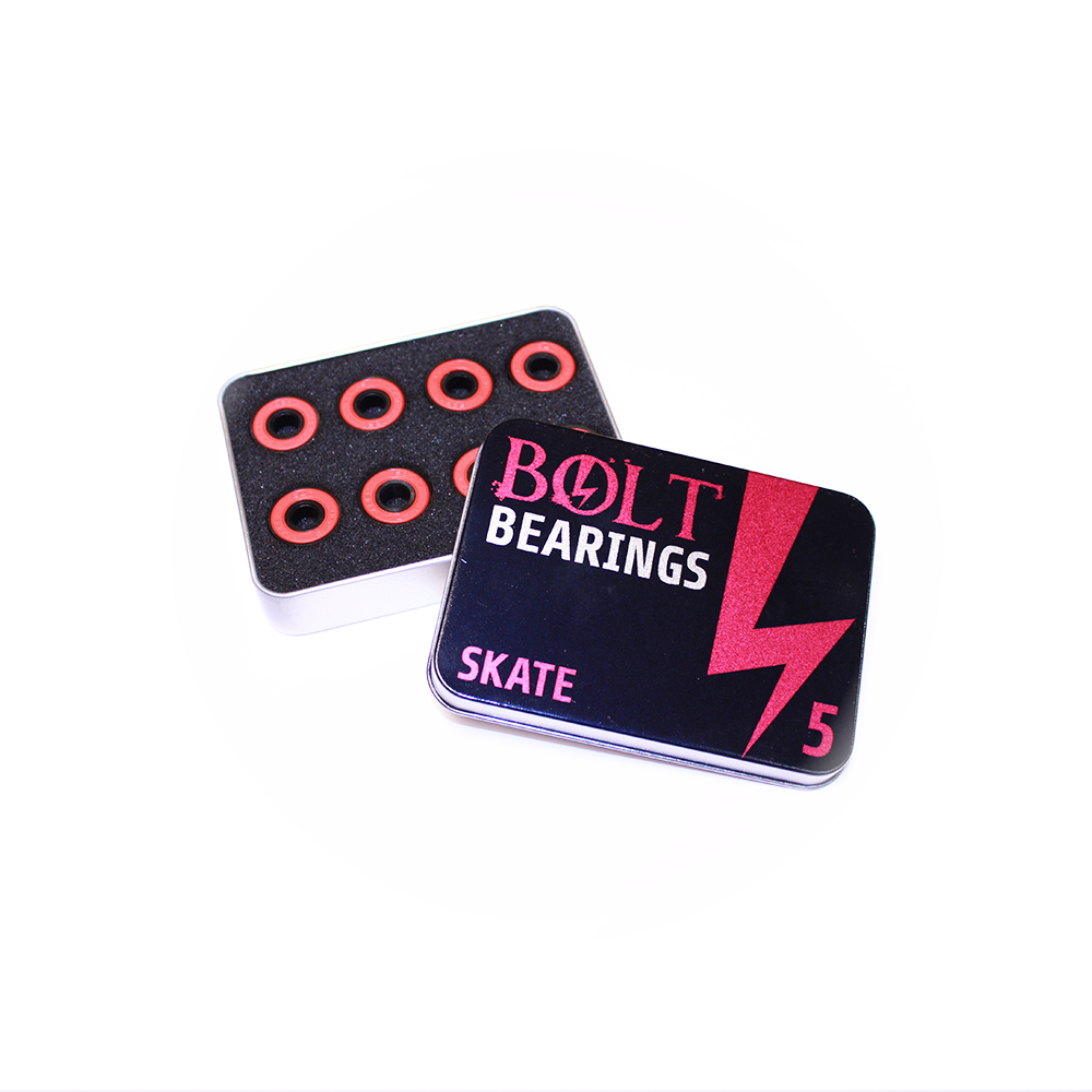6 skate 608 ZZ bearings in open tin box with lid off